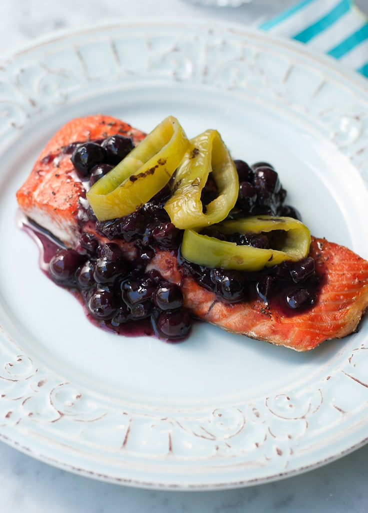 Grilled Wild Copper River Salmon With Blueberry Hatch Chili Sauce healthy www.pineappleandcoconut.com 2