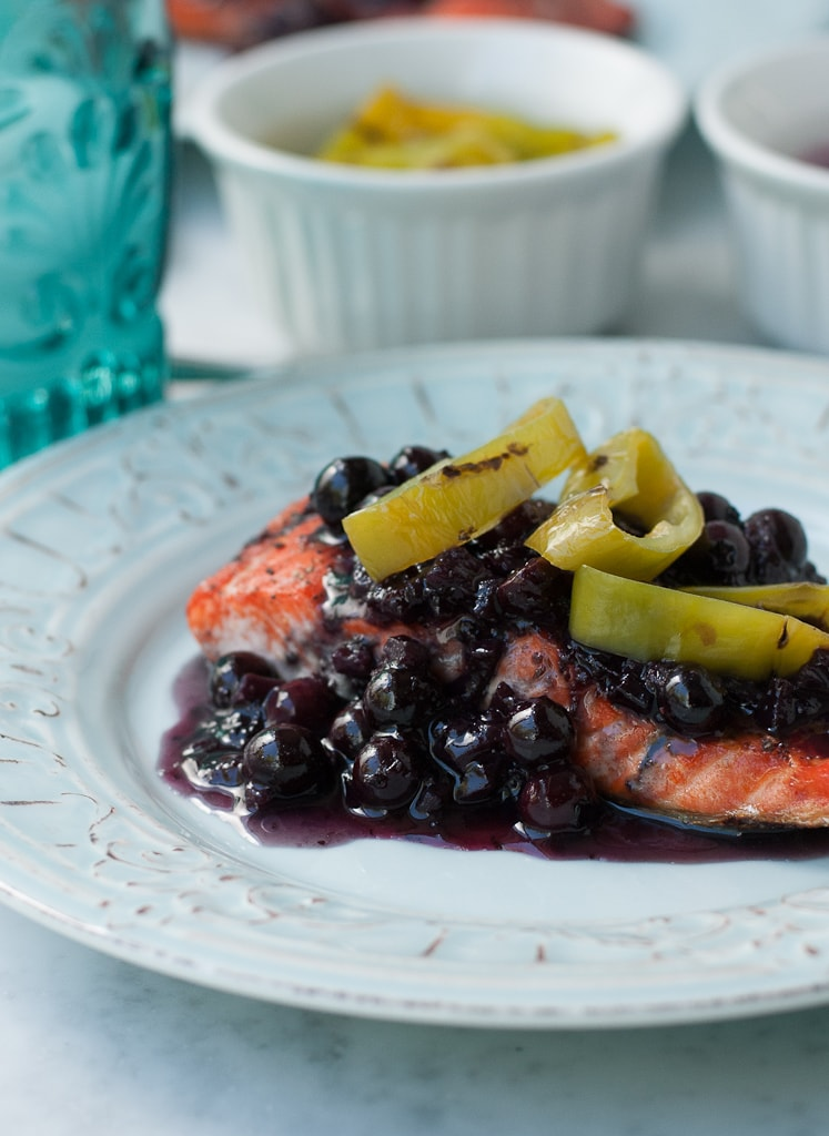 Grilled Wild Copper River Salmon With Blueberry Hatch Chili Sauce healthy www.pineappleandcoconut.com 6
