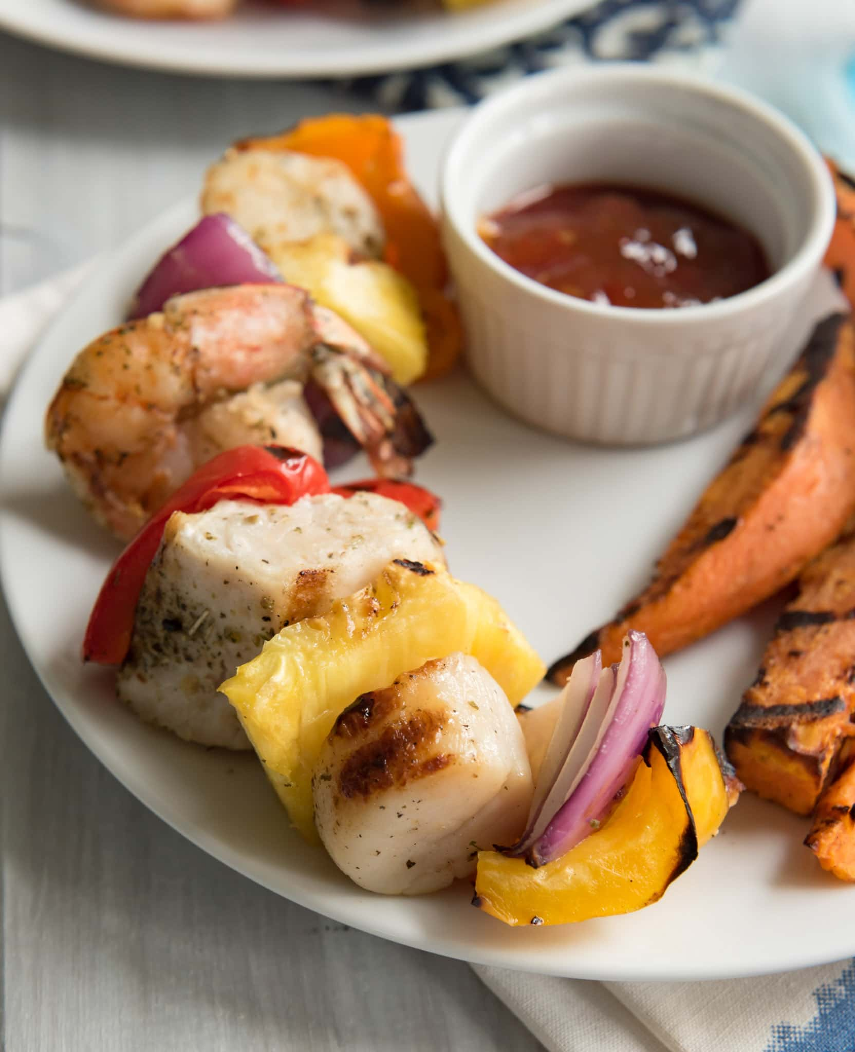 Grilled Mixed Seafood Kabobs with Old Bay Sweet Potato Wedge Fries