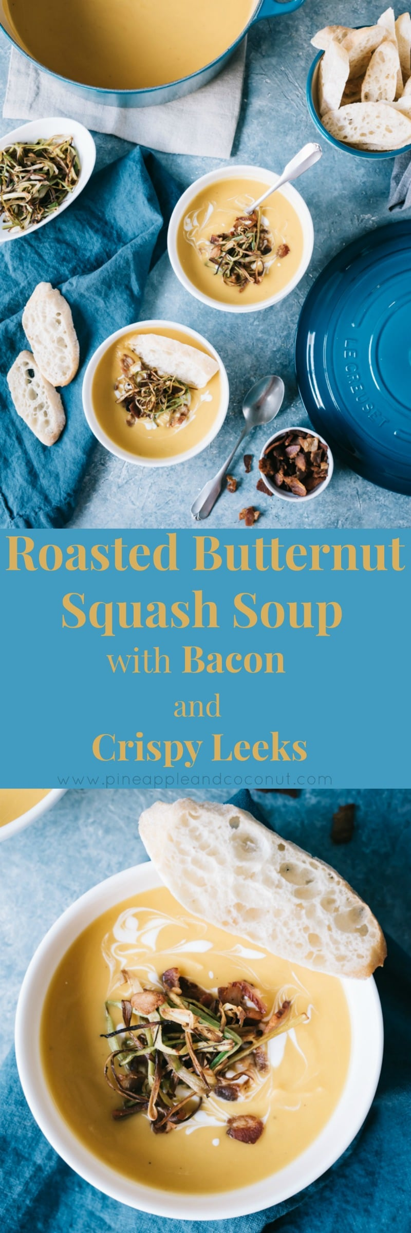 Roasted Butternut Squash Soup with Bacon and Crispy Leeks www.pineappleandcoconut.com