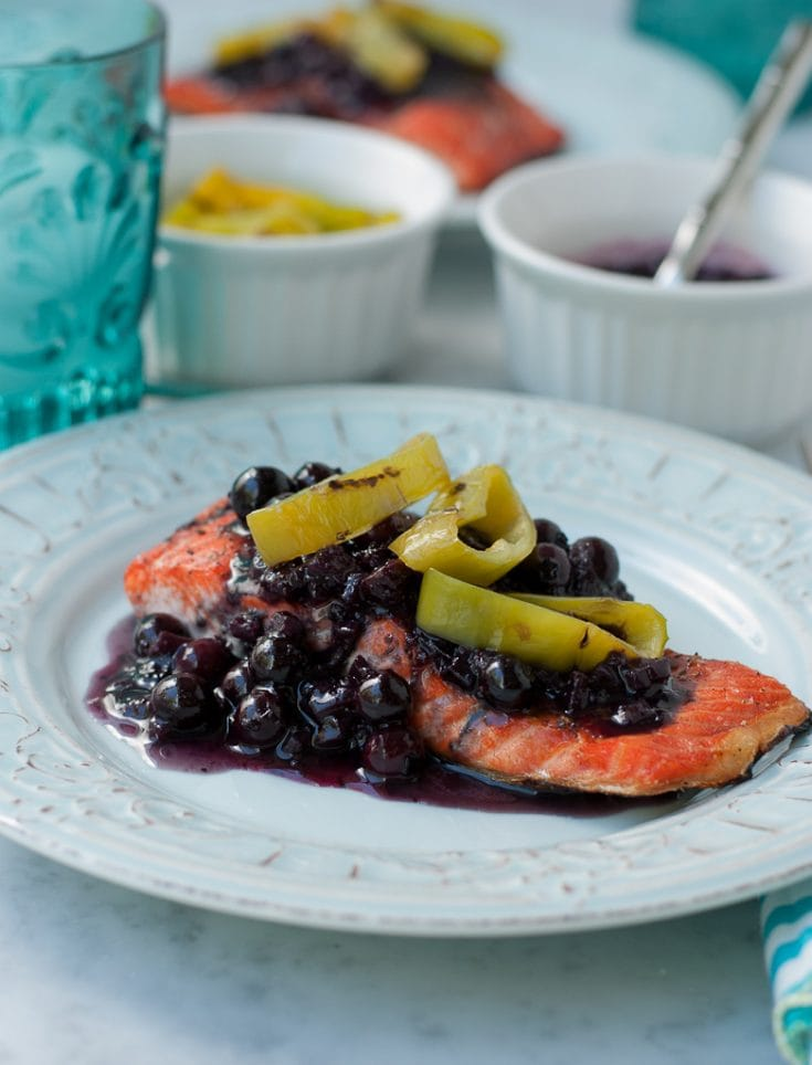 Grilled Wild Copper River Salmon With Blueberry Hatch Chili Sauce healthy www.pineappleandcoconut.com 1
