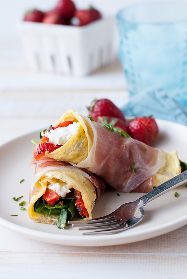 Proscuitto Wrapped Omelets with Goat Cheese Spinach and Roasted Red Peppers 9