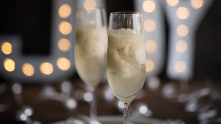 New Year's St Germain Pear Sorbet Champagne Cocktail