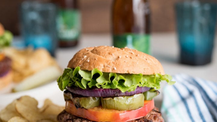 Blueberry Goat Cheese Grilled Bison Burgers