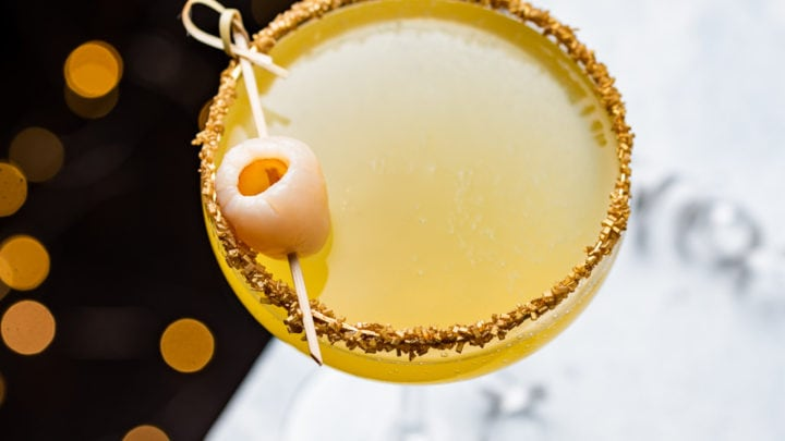 New Year's Golden Tiki Cocktail ( Gold Rum Lychee Champagne Cocktail)