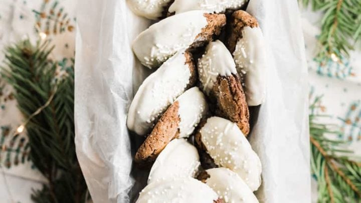 White Chocolate Dipped Soft Molasses Cookies with Pear and Ginger www.pineappleandcoconut.com