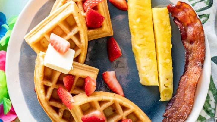 Coconut Mochi Waffles with Strawberries and Pineapple