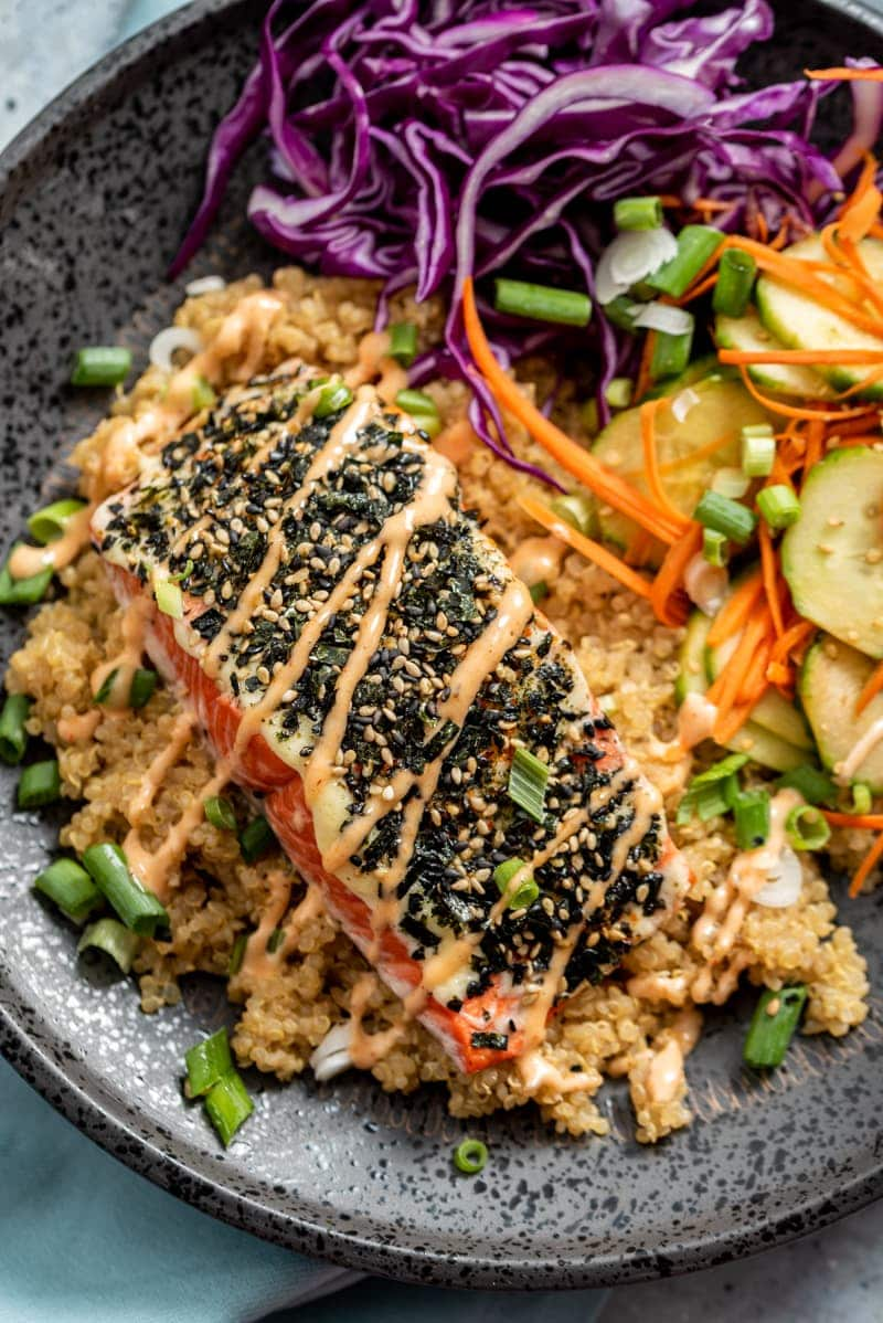 Spicy Furikake Salmon with Quinoa and Quick Pickled Cucumbers www.pineappleandcoconut.com