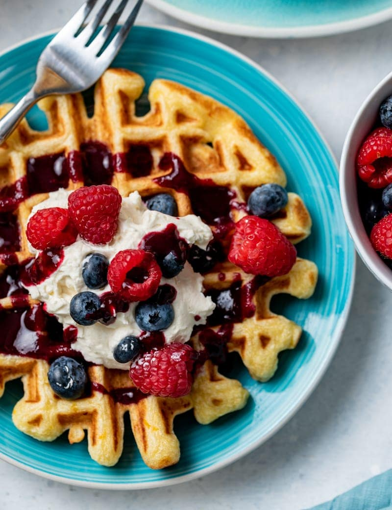 Lemon Ricotta Waffles with Mixed Berry Syrup www.pineappleandcoconut.com