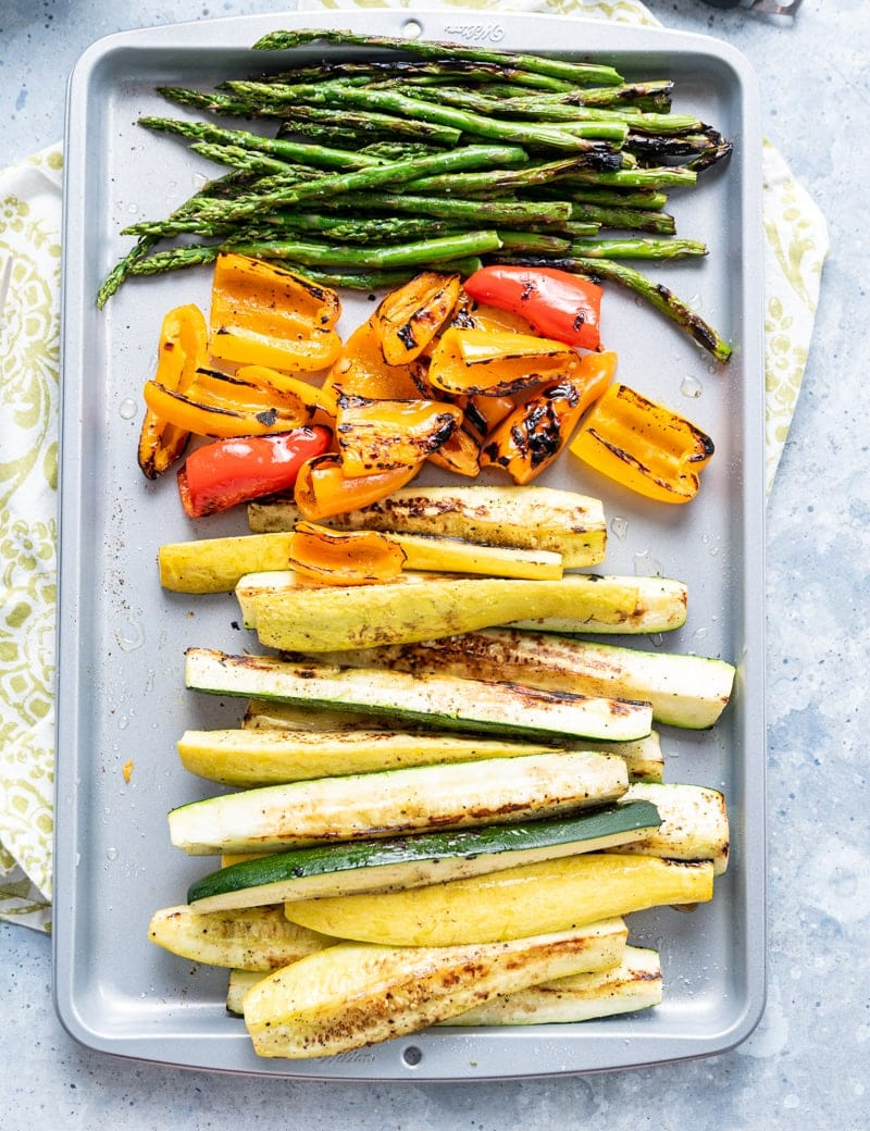 grilled veggies on tray