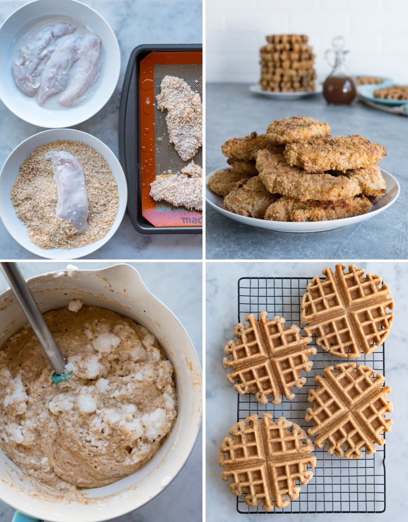 four image collage of prepartion pics for chicken and waffles chicken in coconut milk and breading, a plate of baked chicken tenders, bowl of waffle batter being mixed, cooling rack with four baked waffles on it