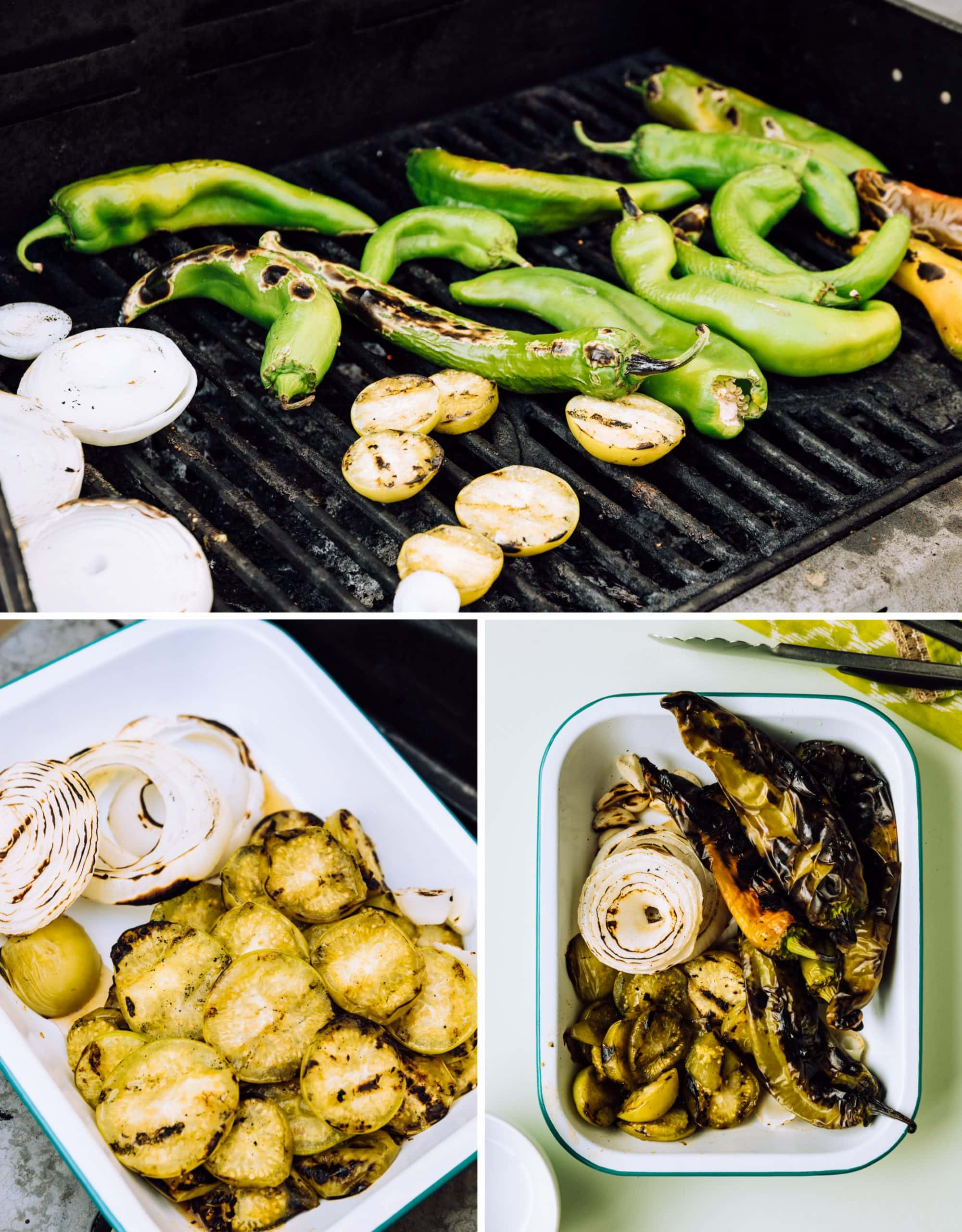 salsa prep photo collage, onion, tomatillos and chiles on a grill, tomatillos and onion in a pan, roasted chiles, tomatillo, onion and garlic in a pan