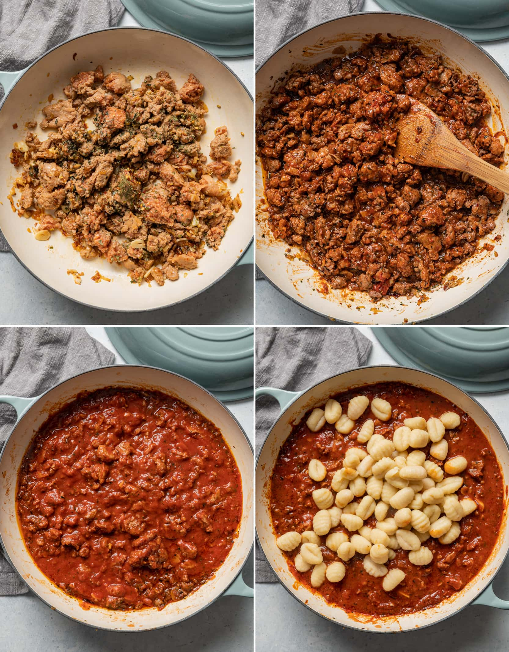 process collage of stages of Italian sausage cooking, with sauces added, with gnocchi on top