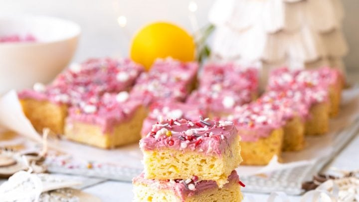 Meyer Lemon Sugar Cookie Bars with Hibiscus Frosting