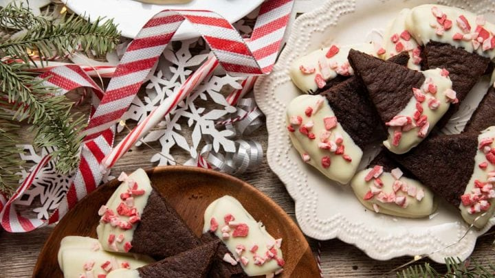 White Chocolate Dipped Peppermint Mocha Shortbread