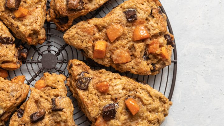 Dark Chocolate Chunk Persimmon Scones with Olive Oil