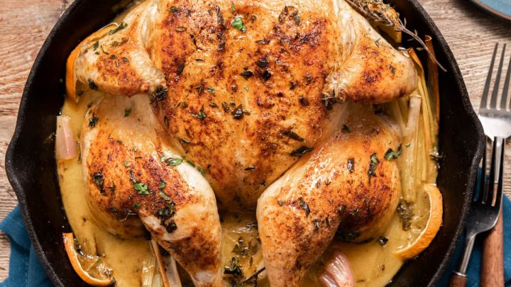 Spatchcock Skillet Roasted Chicken with Citrus and Leeks