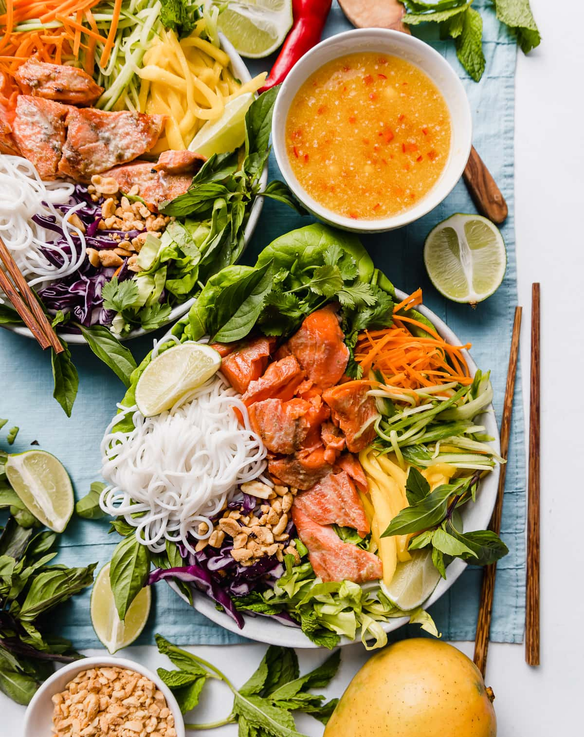 Vietnamese inspired Salmon Rice Noodle Bowls with Mango Nuoc Cham