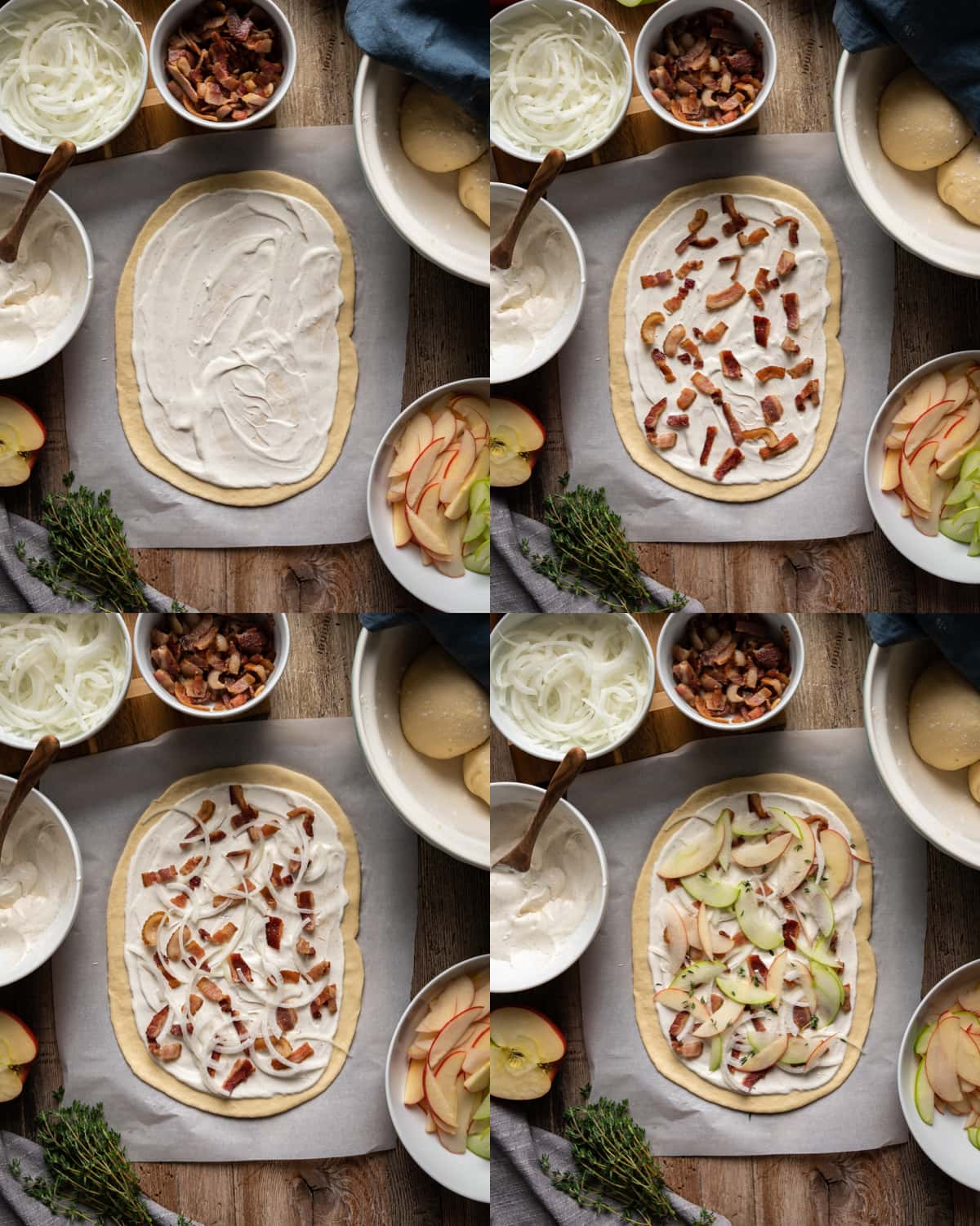 step by step additions of toppings to flammkuchen with white creme fraiche bacon onions and apple slices